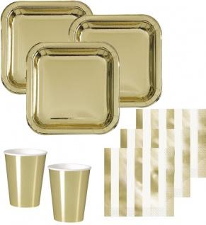 48 Teile Party Deko Set Gold Glanz für 16 Personen