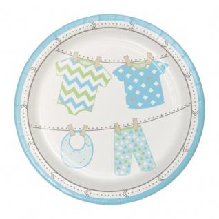 8 kleine Teller Baby Party Pastell Blau