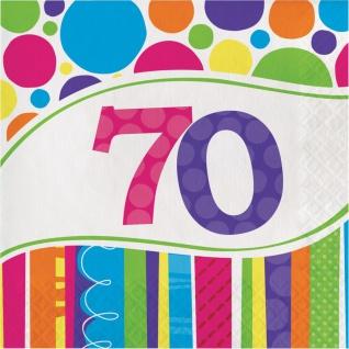 16 Servietten 70. Geburtstag Punkte und Streifen