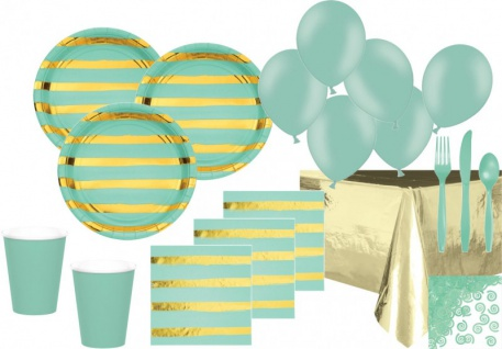 XXL 68 Teile Deluxe Party Deko Set Mint & Gold Glanz gestreift für 8 Personen