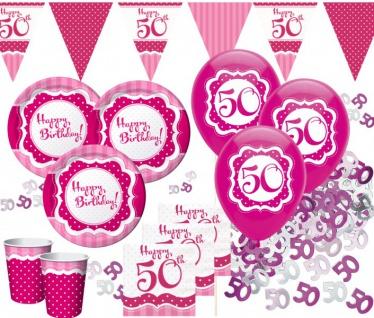 58 Teile zum 50. Geburtstag Party Set Perfectly Pink für 16 Personen