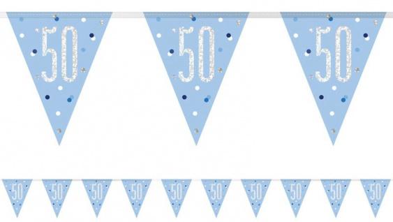 Wimpel Girlande Blue Dots Glitzer zum 50. Geburtstag