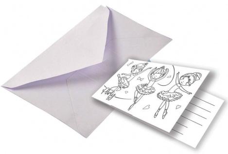 8 Ballerina Einladungskarten zum Ausmalen Ballett Stunde - Vorschau 1