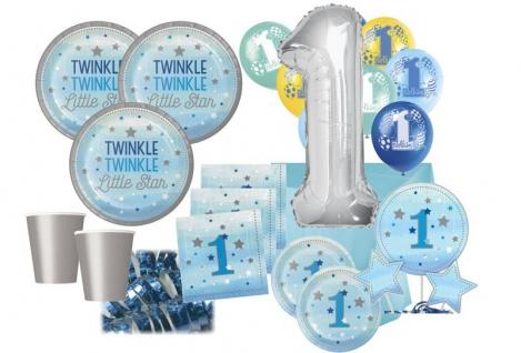 XXL 71 Teile Erster Geburtstag Blinke Kleiner Stern Blau Party Deko Set 8 Personen
