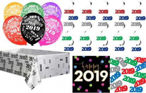 XXL 2019 Silvester und Neujahr Deko Set - Dekorationsset Tischdeko