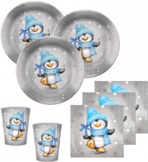 32 Teile Pinguin Junge in Hellblau und Silber Deko Set für 8 Personen