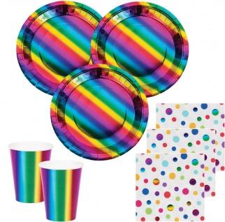 32 Teile Party Deko Set schimmernder Regenbogen - foliert für 8 Personen
