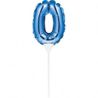 Kuchen oder Deko Stecker Zahl 0 Blau selbstaufblasend