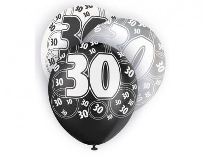 24 Luftballons zum 30. Geburtstag in Schwarz