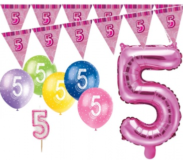 5. Geburtstag Pink Folienballon + Girlande + Luftballons + Kerze Deko Set - Fünf