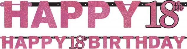 Geburtstags Girlande Glitzerndes Pink und Schwarz 18. Geburtstag