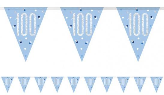 Wimpel Girlande Blue Dots Glitzer zum 100. Geburtstag
