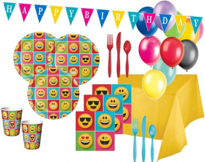 XXL Smiley Emoticons Party Deko Set für 16 Personen