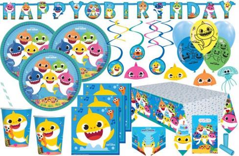 XXL 95 Teile Baby Shark Party Deko Set 8 Kinder