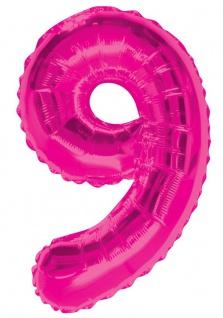XXL Folien Ballon in Form der Zahl 9 Pink 86 cm