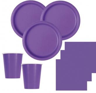 Runde Plastik Tischdecke Neon Violett - Vorschau 2