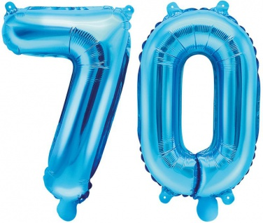 Folienballons Zahl 70 Blau Metallic 35 cm