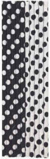 10 Papier Trinkhalme schwarze Punkte