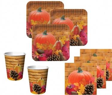 8 Papp Teller Herbst gefüllter Weidenkorb - Vorschau 2