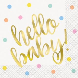 16 Servietten Hello Baby glänzend Gold foliert