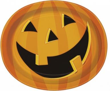 8 ovale Halloween Teller lachender Kürbis