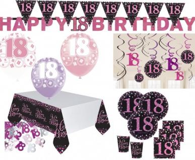 XXL Pink Glitzer Party Set zum 18. Geburtstag für 8 Personen
