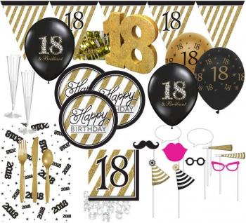 Deluxe 111 Teile Set zum 18. Geburtstag - Party Deko in Schwarz & Gold für 8 Personen