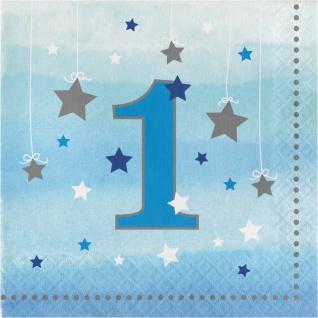16 Servietten blinke kleiner Stern zum 1. Geburtstag in Blau