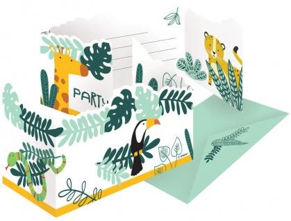 8 Einladungskarten wilde Tiere