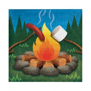 16 kleine Servietten Lagerfeuer, Zelten und Angeln