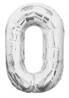 XXL Folien Ballon in Form der Zahl 0 Silber 86 cm