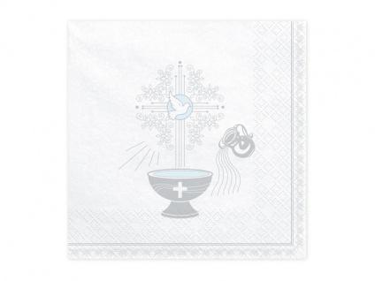 Taufe Kommunion 20 Edle Servietten silber und hellblau bedruckt