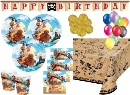 XL 45 Teile Piraten auf der Schatzsuche Geburtstags Party Deko Set für 8 Kinder