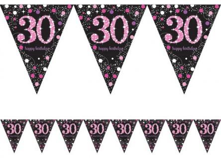 Wimpel Girlande Glitzerndes Pink und Schwarz 30. Geburtstag