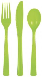 18 Teile Plastik Besteck Neon Grün wiederverwendbar - Vorschau
