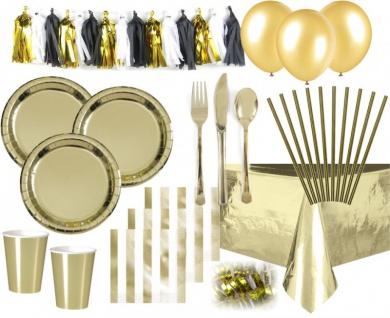 XXL 71 Teile Party Deko Set Gold Glanz für 6-8 Personen