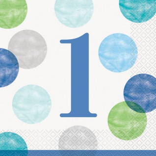 32 Teile Erster Geburtstag Blaue Punkte Party Deko Set 8 Personen - Vorschau 4