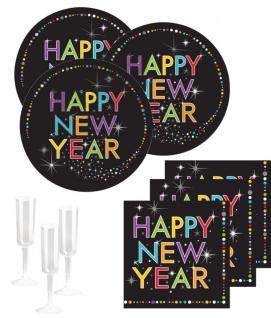 32 Teile Silvester und Neujahrs Party Deko Set 8 Personen - Happy New Year