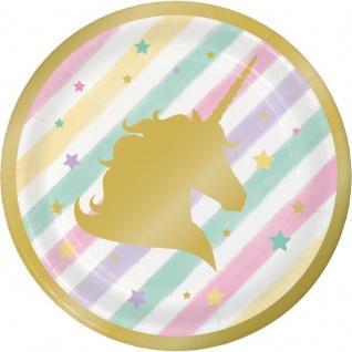 8 kleine goldenes Einhorn Teller