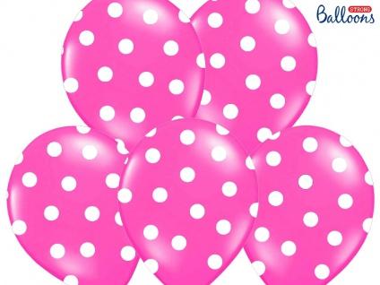 6 Luftballons Pink mit Punkten