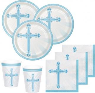 72 Teile Taufe Kommunion Hellblau Party Deko Set für 18 Personen