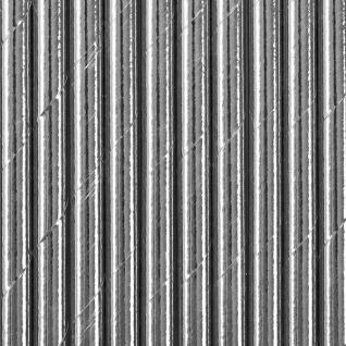 10 Papier Trinkhalme Silber Metallic