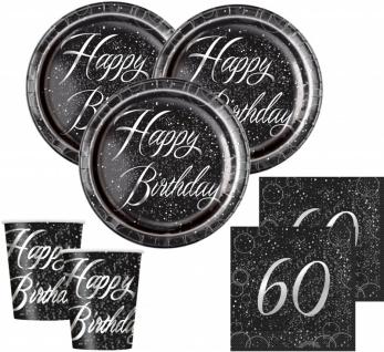 32 Teile edles Party Deko Set zum 60. Geburtstag in Schwarz Silber foliert für 8 Personen