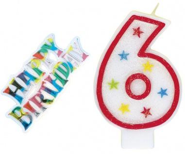 6. Geburtstag Zahlenkerze Rot mit bunten Sternen und Happy Birthday Stecker