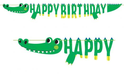 Geburtstags Girlande kleines grünes Krokodil