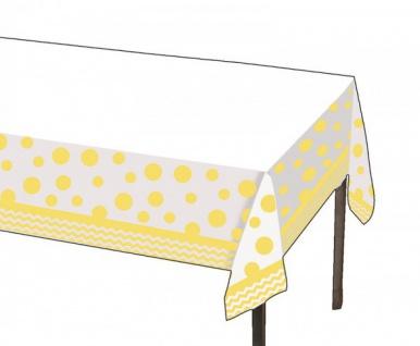 Plastik Tischdecke Zickzack und Punkte Pastell Gelb