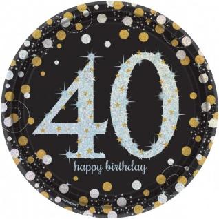 8 Teller Glitzerndes Gold und Schwarz 40. Geburtstag