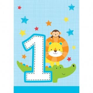 8 Party Tüten 1. Geburtstag im Zoo Blau