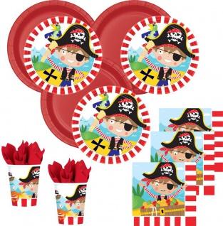 64 Teile kleine Piraten Party Deko Basis Set für 16 Kinder