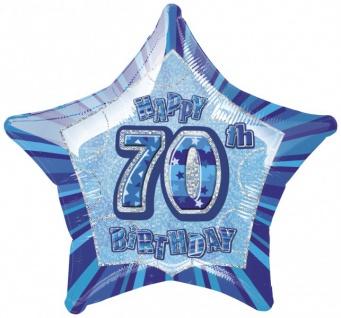 70. Geburtstag Glitzer Folien Ballon Blau